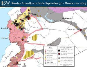 Rus saldırılarının ilk ayında hava saldırısı yapılan bölgeler.. Kaynak . Institute for the Study of War