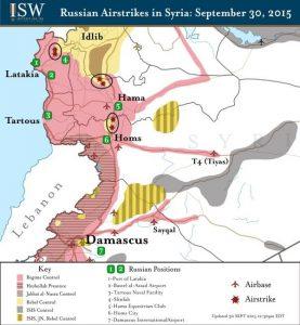 Rusya'nın 30 Eylül'de bombaladığı muhalif bölgeleri Kaynak : Institute for the Study of War