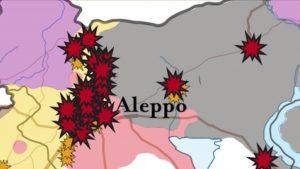 Rusya'nın Halep'te son 1 haftada bombaladığı yerler. Sarı bölgeler muhalif alanları. (Kaynak : ISW)